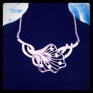 Sparkling Silver Tulip Necklace